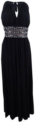 R & M Richards R&M Richards Women's Gown with Beaded Waist and Keyhole Front