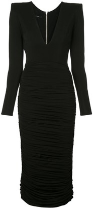 Alex Perry Clove ruched fitted dress