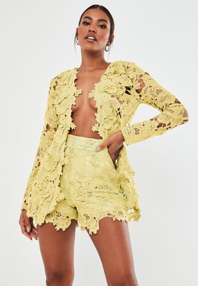 Missguided Lemon Co Ord Crochet Lace Shorts
