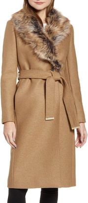 Ted Baker Corinna Wool Coat with Faux Fur Collar