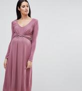 Bluebelle Maternity Long Sleeve Knot Front Midi Dress