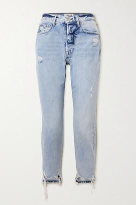Frame Le Original Distressed High-rise Straight-leg Jeans - Light denim