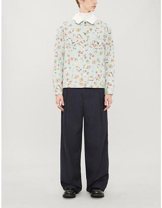 Gucci Love-print denim and faux-shearling jacket