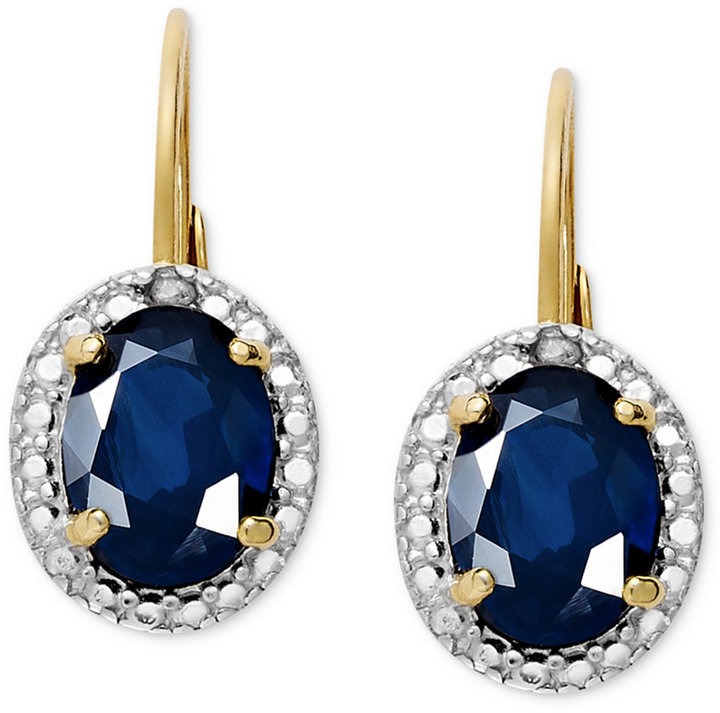 Townsend Victoria 18k Gold over Sterling Silver Earrings, Sapphire (2 ct. t.w.) and Diamond Accent Oval Leverback Earrings