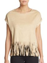 Romeo & Juliet Couture Fringed Faux Suede Crop Top