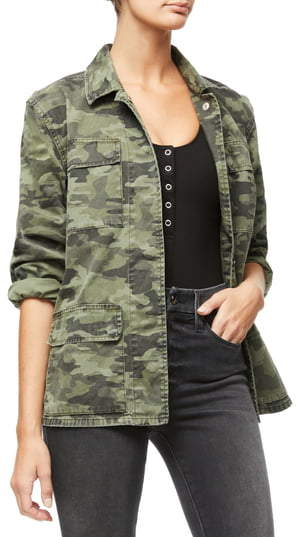 Good American Camo Snap Front Jacket