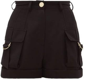 Balmain High-rise Wool Cargo Shorts - Black