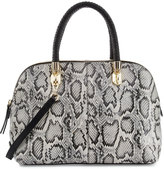 Cole Haan Benson Large Snake-Print Leather Dome Satchel Bag, Black/White