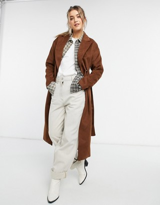 New Look belted maxi coat in tan