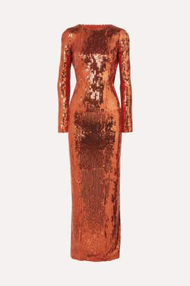 Galvan Adela Open-back Sequined Satin Gown - Bronze