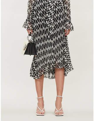 Diane von Furstenberg Debra houndstooth-patterned silk midi skirt