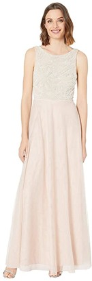 Adrianna Papell Beaded Sleeveless Gown w/ Tulle Skirt (Shell) Women's Dress