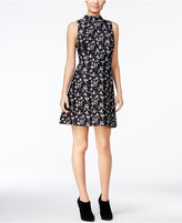 Kensie Printed Mock-Neck A-Line Dress
