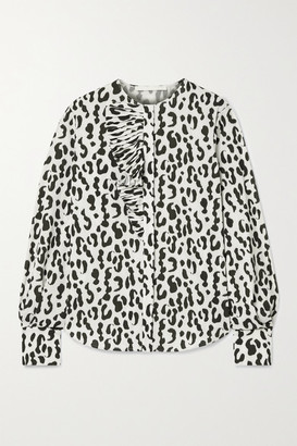 Jason Wu Collection Ruffled Leopard-print Stretch-crepe Blouse - White