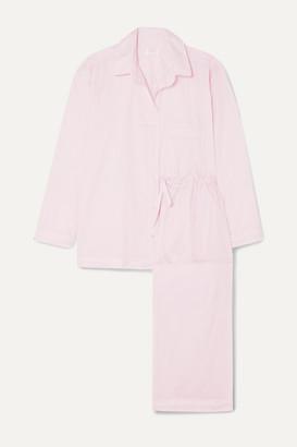 Pour Les Femmes - Crochet-trimmed Cotton-voile Pajama Set - Pastel pink