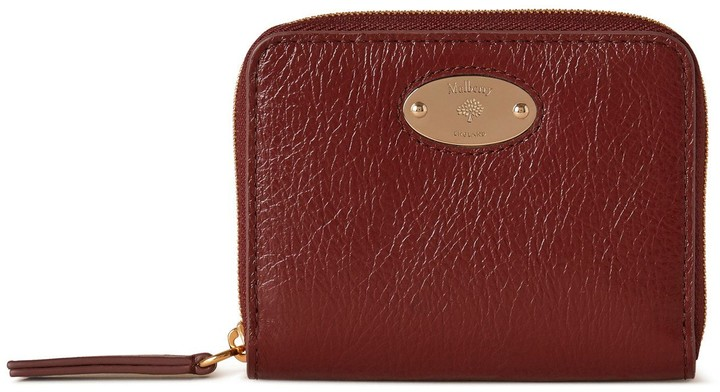 Mulberry Plaque Small Zip Around Purse Crimson High Shine Calf Leather