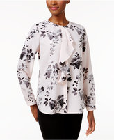 Charter Club Petite Floral-Print Ruffle Blouse, Only at Macy's