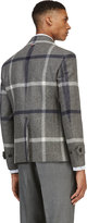 Thom Browne Grey & Navy Wool Tartan Peacoat