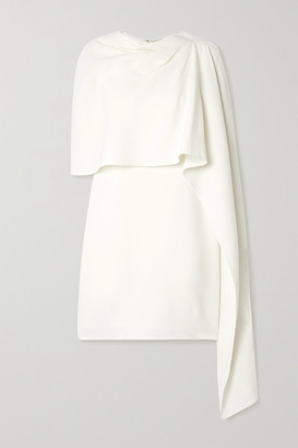 Oscar de la Renta Layered Draped Wool-blend Crepe Mini Dress - Ivory