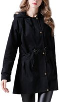 Moonpin Women's Casual Zipper-up Hooded Tunic Trenchcoat Outcoat Plus Size L
