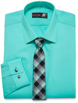 Jf J.Ferrar Easy-Care Long Sleeve Dress Shirt and Tie Set