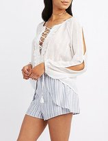 Charlotte Russe Embroidered Lace-Up Blouse
