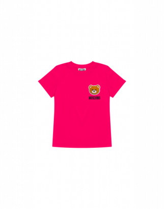 Moschino T-shirt With Teddy Bear Patch Unisex Fuchsia Size 4a It - (4y Us)
