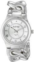August Steiner Women's AS8112SS Swiss Quartz Diamond Silver-tone Twist Chain Bracelet Watch