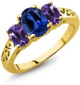 Gem Stone King 2.30 Ct Oval Blue Simulated Sapphire Purple Amethyst 18K Yellow Gold 3-Stone Ring