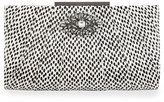 Badgley Mischka Katrina Snake-Embossed Leather Evening Clutch Bag, Black/White