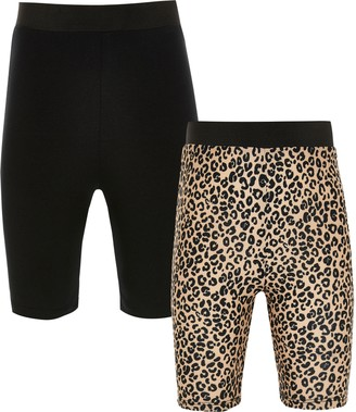 River Island Girls Brown leopard cycling short 2 pack
