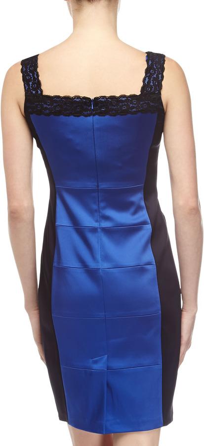 Jax Satin Square-Neck Sheath Dress