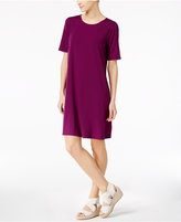 Eileen Fisher Stretch Jersey Elbow-Sleeve A-Line Dress, Regular and Petite