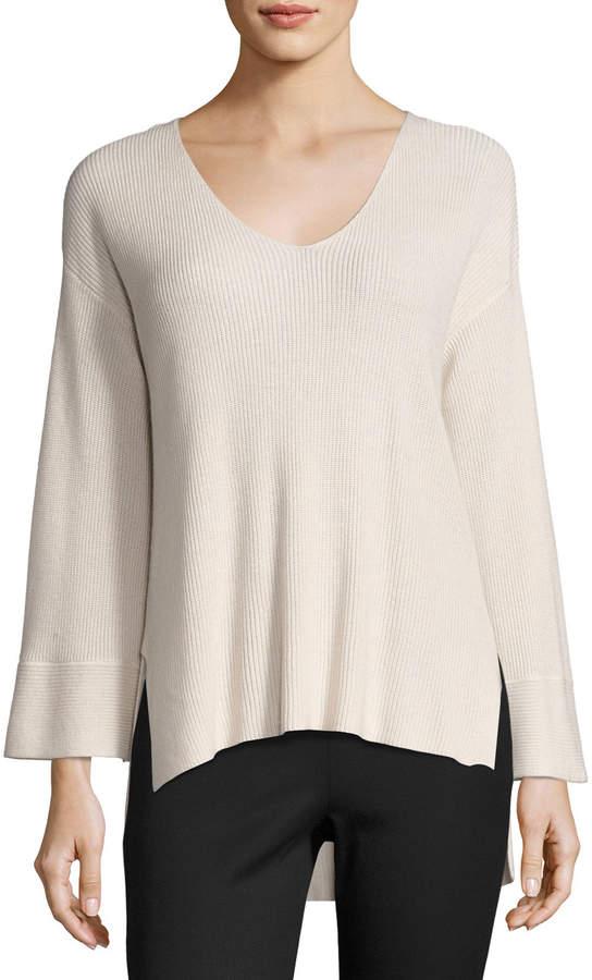 ATM Anthony Thomas Melillo Ribbed V-Neck Pullover Sweater, Blush