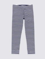 Marks and Spencer Cotton Rich Striped Leggings with StayNEWTM (3-14 Years)