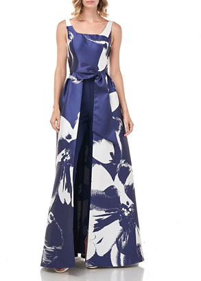 Kay Unger New York Sophie Floral Printed Mikado Walk-Thru Jumpsuit