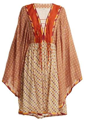 Talitha Collection Jasmine Scarf Print Lace Up Dress - Womens - Orange Multi