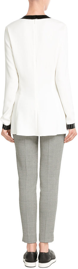 Ralph Lauren Black Label Blouse with Patent Leather Trims