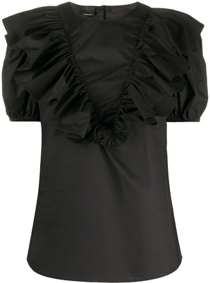 Pinko Ruffle-Trimmed Puff-Sleeved Blouse