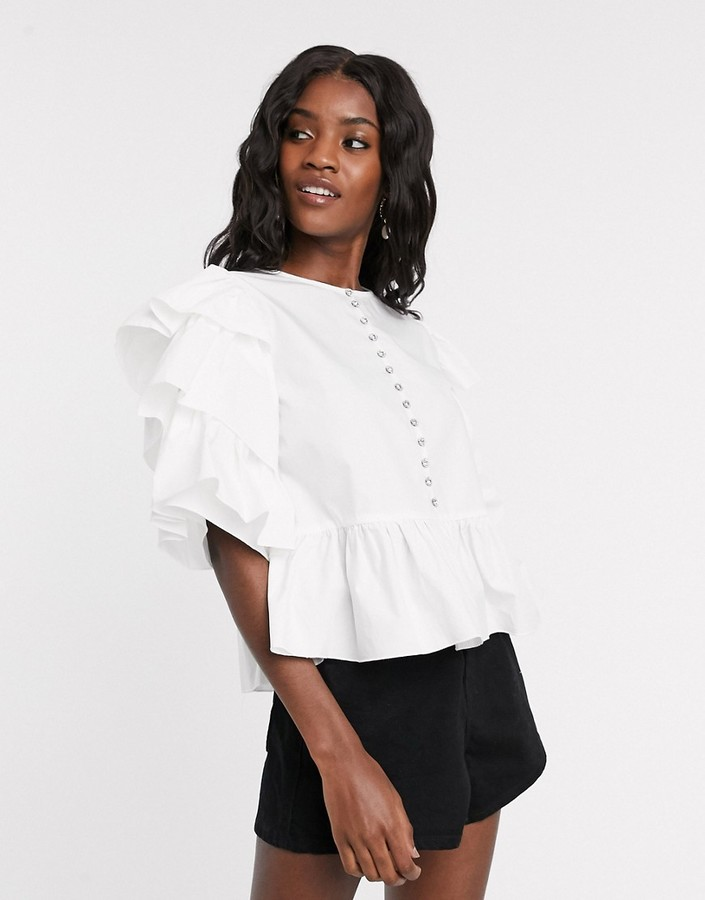 Sister Jane shirt with tiered sleeves and rhinestone button detail in cotton