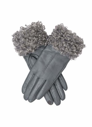 Dents Francesca Women's Touchscreen Leather Gloves with Faux Shearling Cuffs CHARCOAL M