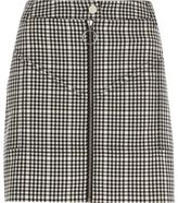 River Island Womens Black check zip front mini skirt
