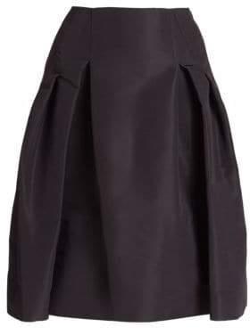 Carolina Herrera Icon Collection Silk Faille Pleated Skirt