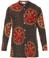 Gucci Medallion-print Collarless Cotton Shirt