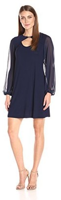 Tiana B T I A N A B. Women's Solid A-line Dress with Sheer Sleeves and Front Keyhole