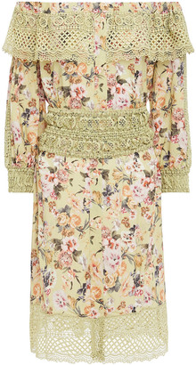 Charo Ruiz Ibiza Off-the-shoulder Crocheted Lace-paneled Floral-print Voile Mini Dress