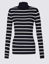 M&S Collection Striped Roll Neck Long Sleeve Jumper
