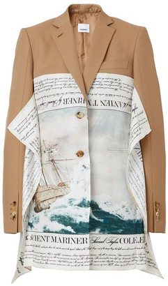 Burberry Mariner Print Scarf Detail Wool Blend Tailored Jacket