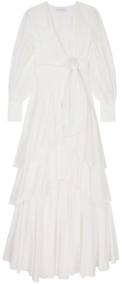 Berta Cabestany Oceano Long Ruffled White Dress