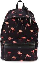 Saint Laurent City Backpack with Flamingo Print - men - Cotton/Leather - One Size
